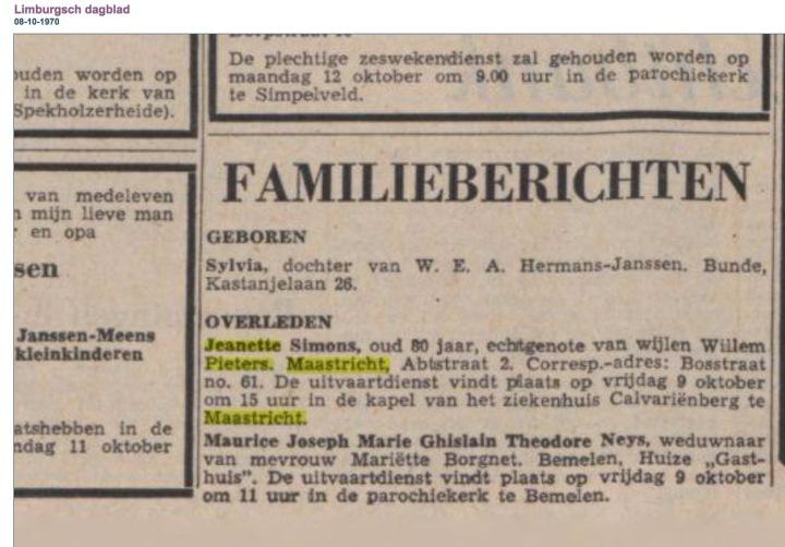 overlijden Jeanette Pieters Simons
